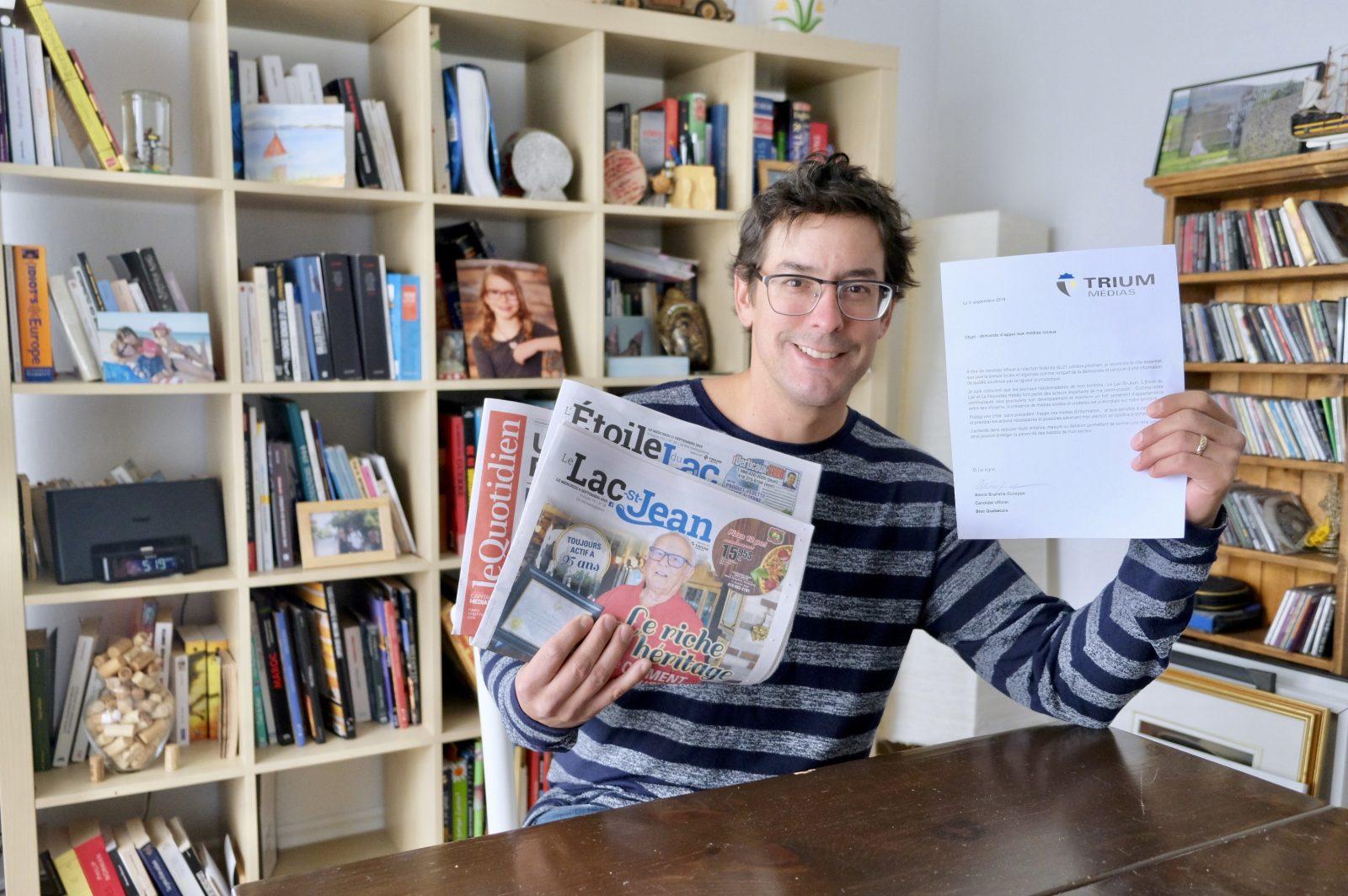 Alexis Brunelle-Duceppe prend position pour les médias locaux
