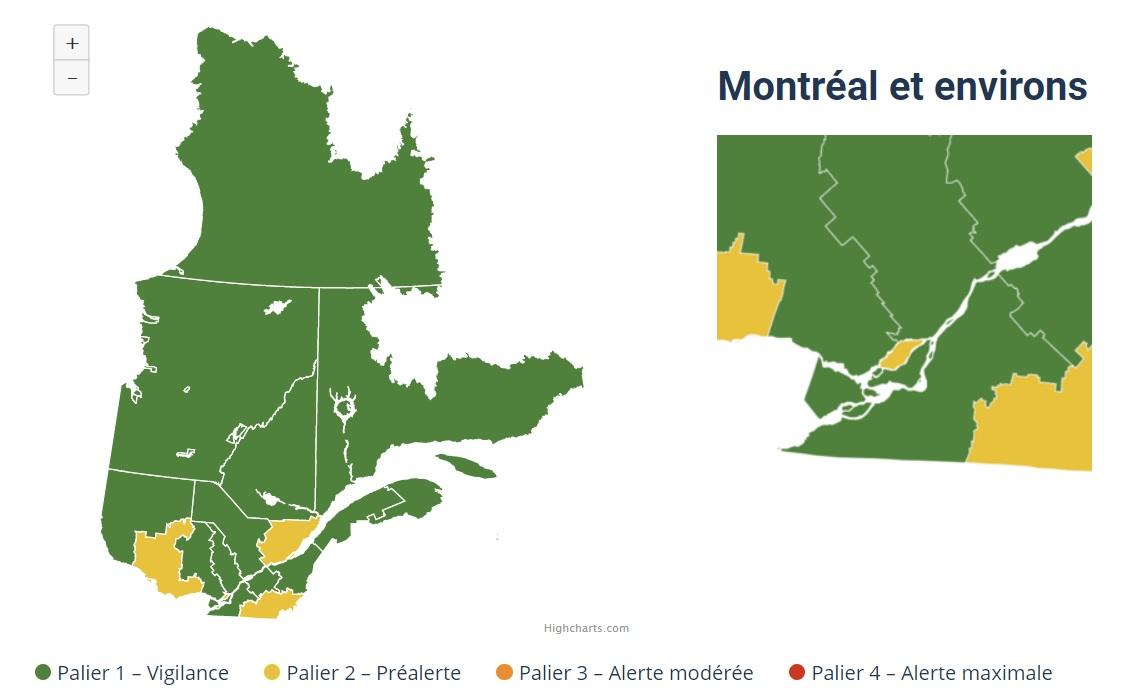 COVID-19 : Québec adopte un système d'alertes régionales