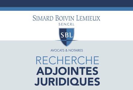 Simard Boivin Lemieux S.E.N.C.R.L. est actuellement à la recherche d'adjointes juridiques