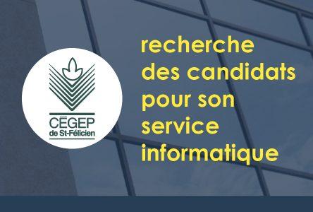 Le Cégep de St-Félicien recherche des TECHNICIENS(NES) EN INFORMATIQUE